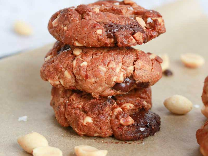 Stack of Salted Peanut Choc Chunk Cookies