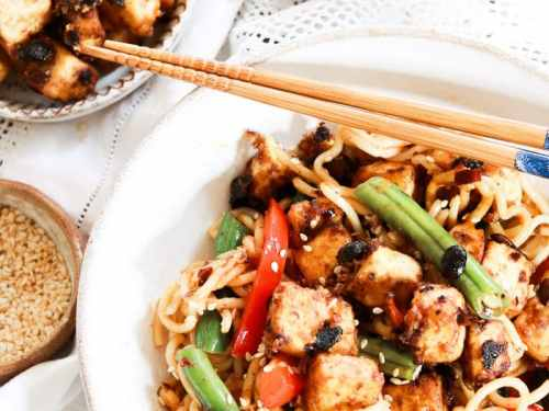 Crispy Black Bean Tofu Noodle Bowl with extra tofu