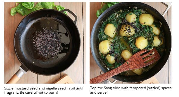 How to image of tempering the spices before adding them over the curry.