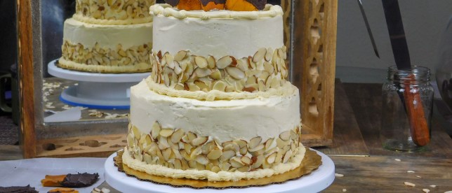 Almond Cake with Vanilla Meringue Buttercream