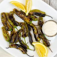 Blistered Shishito Peppers with Garlic Aioli Dipping Sauce