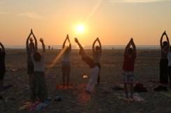 Yoga coucher de soleil moliets france