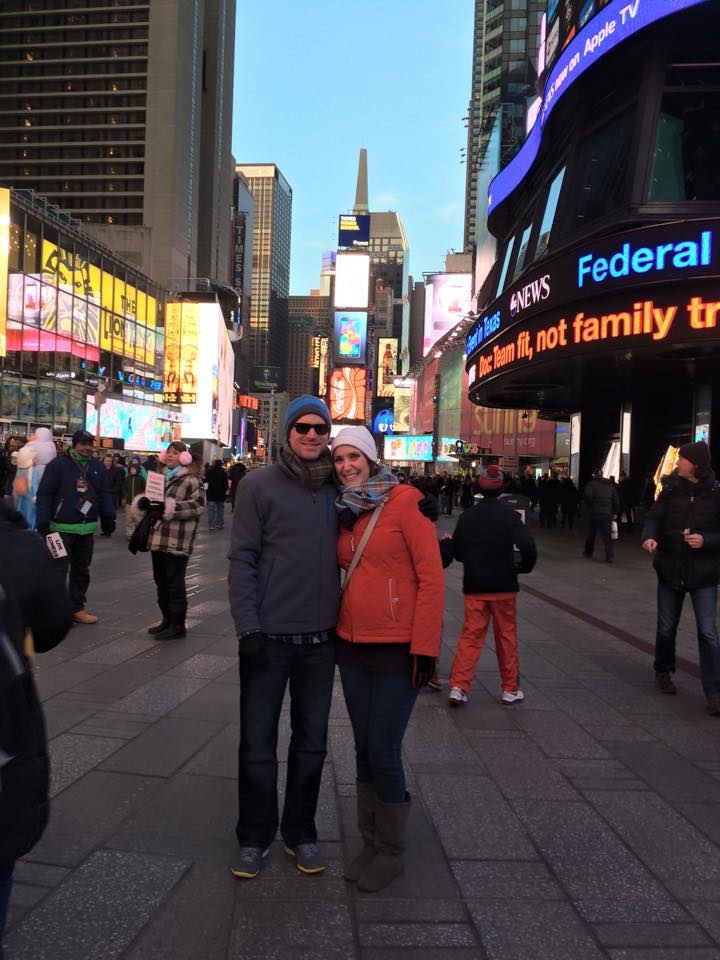 My husband and I in Times Square