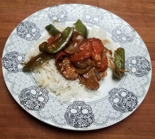 Plated Vegan Pepper Steak