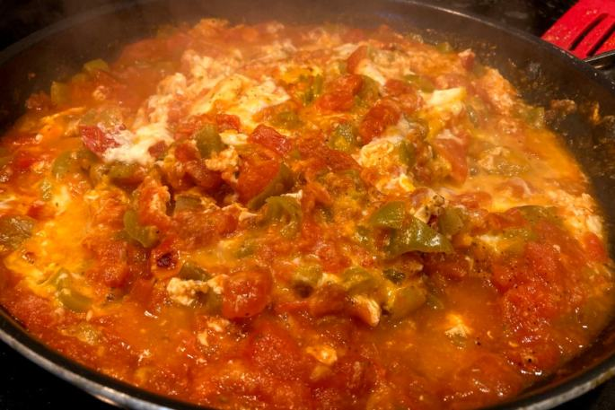 Menemen, a Turkish dessert, is made with eggs, sweet pepper and tomatoes.