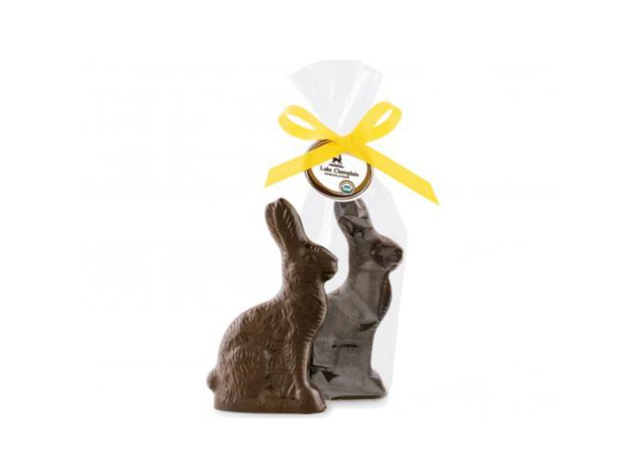 2 Lake Champlain vegan dark chocolate easter bunnies, one in packaging and other not.