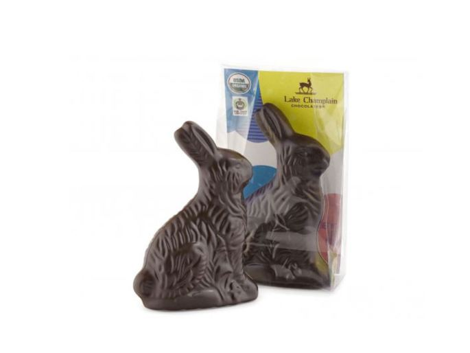 Lake Champlain mini dark chocolate semi solid easter bunny one in package and other not.