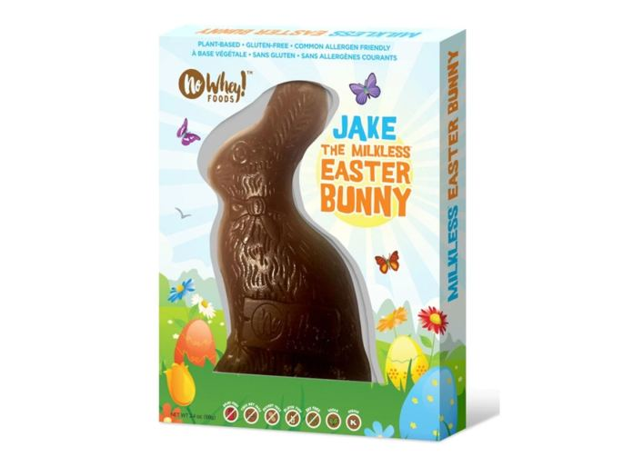 Jake the vegan milk chocolate easter bunny by No Whey chocolates.
