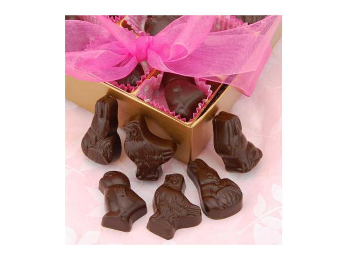 Vegan milk chocolate easter shapes by Rose City Chocolateir with pink ribbon