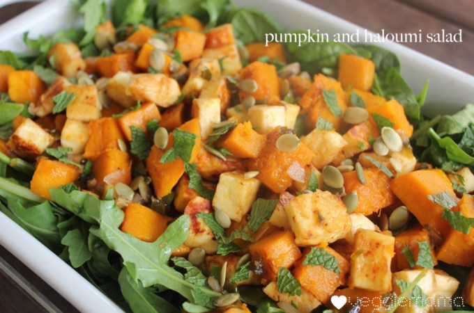 Pumpkin and Haloumi Salad with a Honey-Jalapeno Dressing
