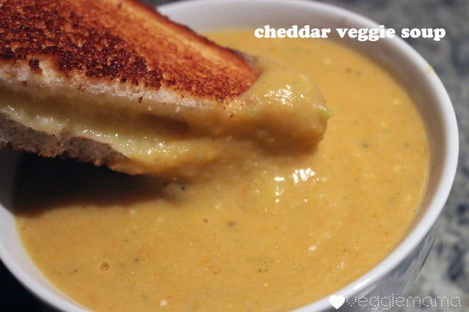 Vegetarian soup: a cheddar-veggie version with a silky, cheesy bechamel sauce.