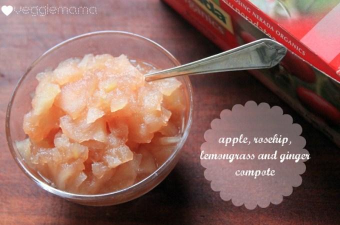 Apple, rosehip, lemongrass + ginger compote