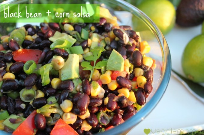 Meatless Monday – black bean and corn salsa with lime and avocado
