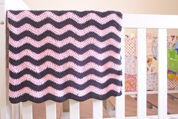 pink and black crochet ripple blanket
