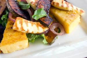 Grilled polenta and pumpkin with haloumi