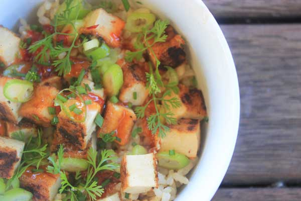 Quick sweet chilli tofu and rice