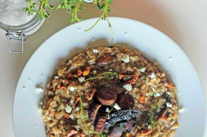 Mushroom Risotto with Toasted Walnuts and Goat Cheese