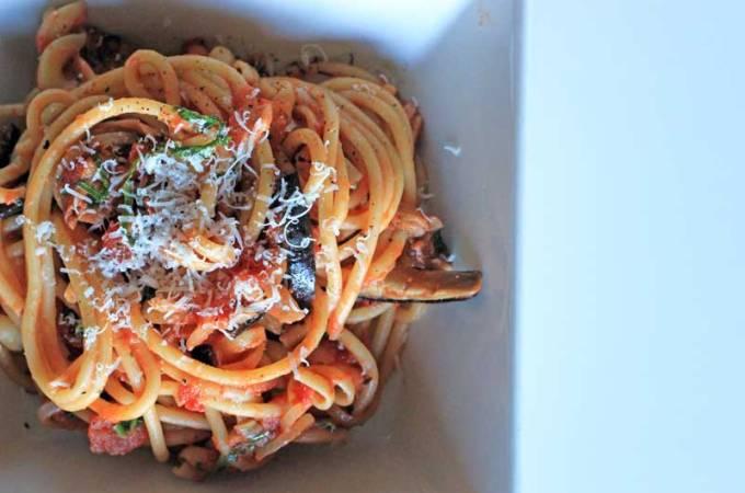 Roasted Eggplant and Chilli Spaghetti
