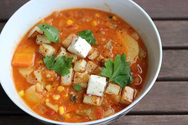Red Lentil Veggie Soup with Roasted Potato Croutons