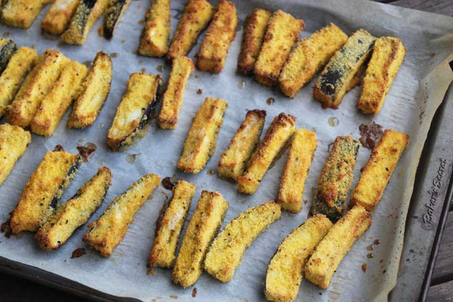 Crispy Baked Eggplant Chips with Sweet Chilli Mayo