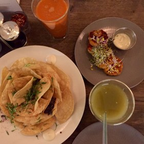 nachos, sweet potato falafel, juice