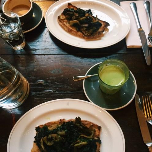 woodland mushrooms and spinach on toast