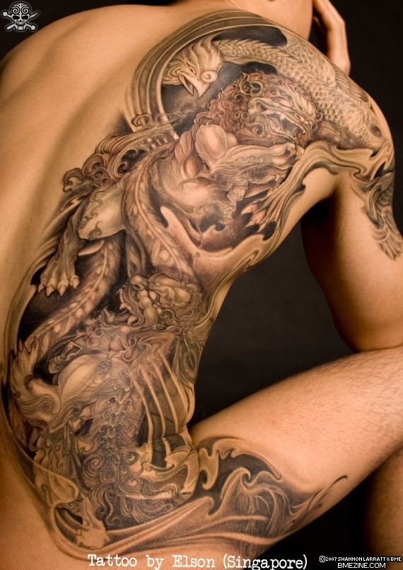 extreme side tattoo