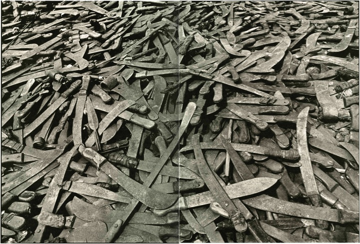 Machetes used in the Rwandan genocide