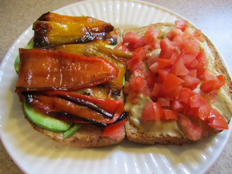 Pepper, hummus, avocado, & tomato sandwich- yum!