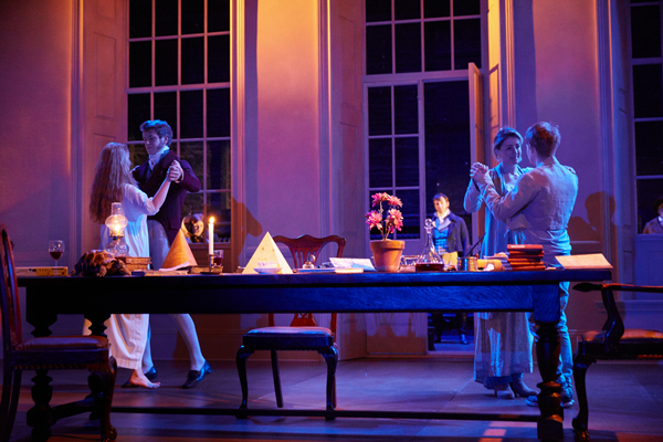timus Hodge), Flora Montgomery (Hannah Jarvis) and Charlie Manton (Gus Coverly) in Arcadia. Credit Mark Douet - Copy