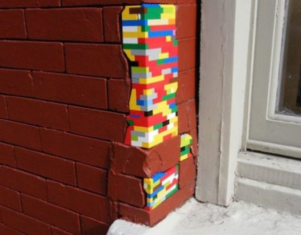 Lego used to replace brickwork