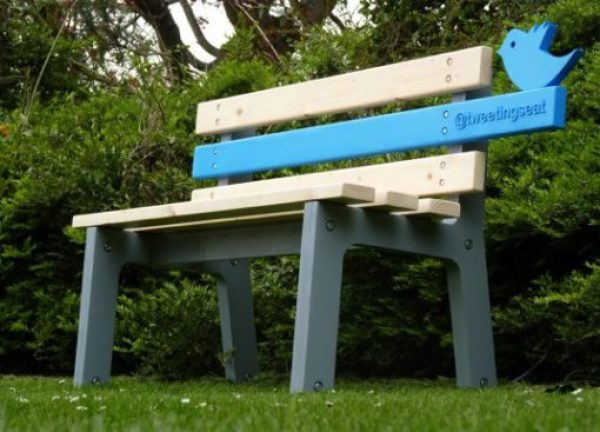 Twitter Themed Park Bench