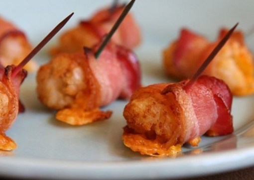 Bacon & cheese wrapped tater tots with tabasco