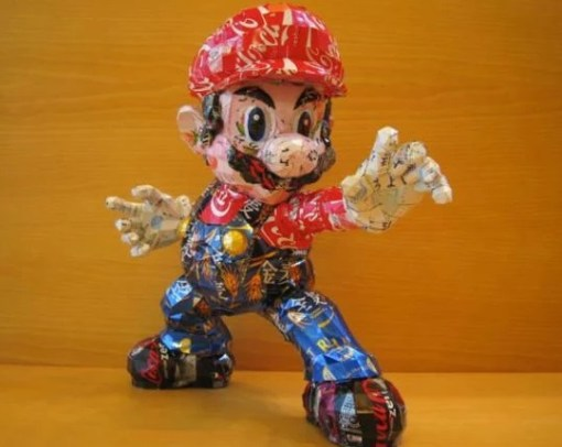 Super Mario Sculpture Made From Recycled Drinks Cans