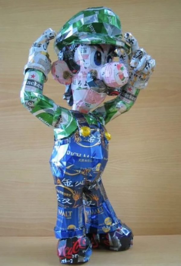 Luigi Sculpture Made From Recycled Drinks Cans