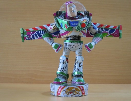 Buzz Lightyear Sculpture Made From Recycled Drinks Cans