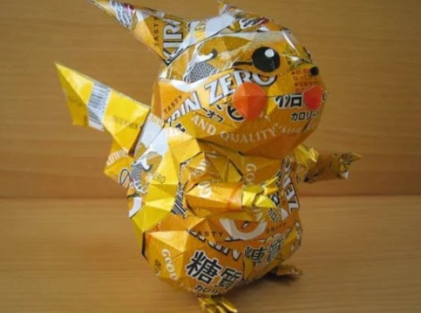Pikachu Sculpture Made From Recycled Drinks Cans