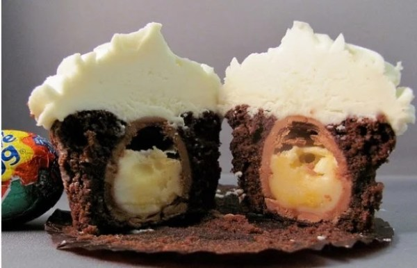 Chocolate cupcake, with a creme egg baked inside