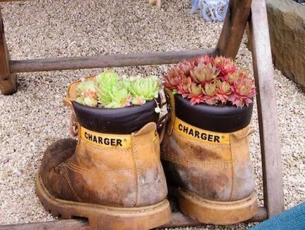Work Boots Shoe Planter