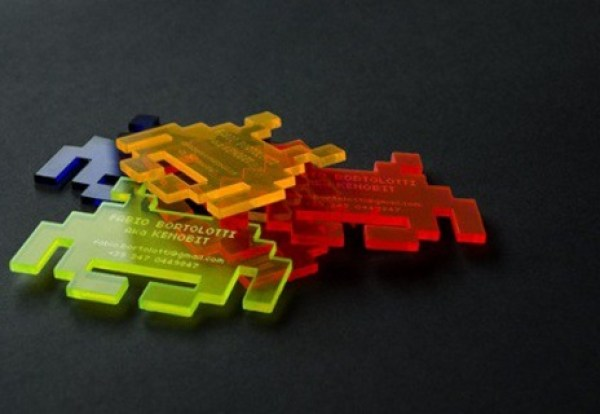 pixelated alien business cards