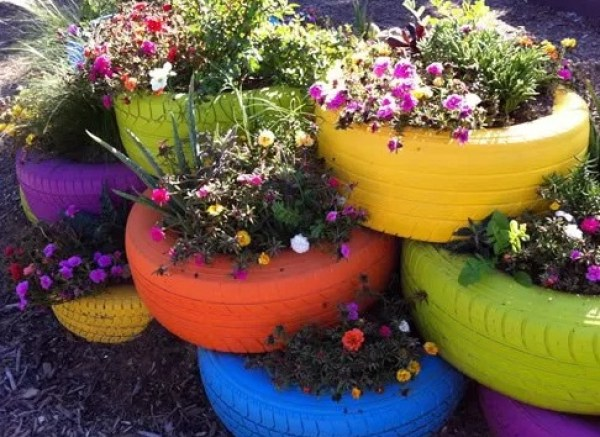 Recycled Tyre Planters
