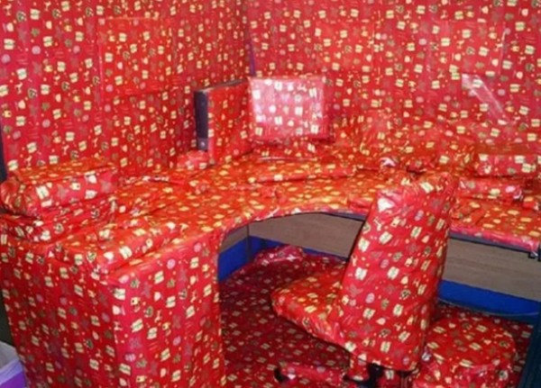 Office wrapped in wrapping paper