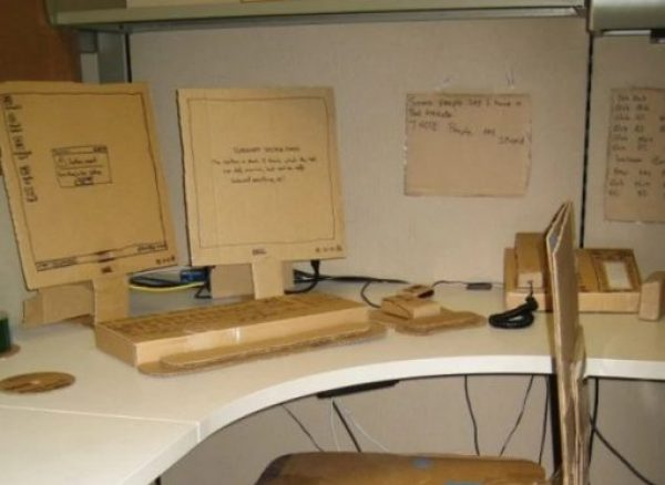 Office items replaced with cardboard ones as a prank