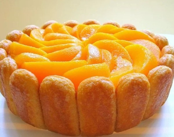 Mango and Peach Charlotte Cake