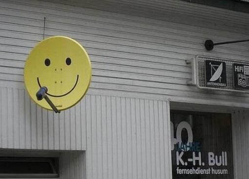 Yellow Smiley Face Effect Satellite Dish Art