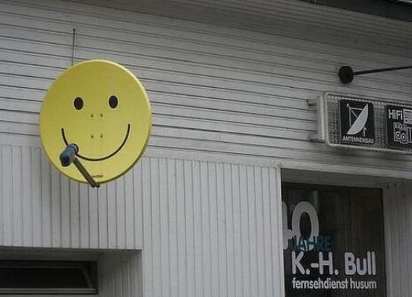 Yellow Smiley Face Effect Satellite Dish Art