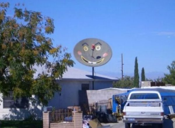 Happy Face Effect Satellite Dish Art