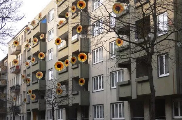 Sunflower Effect Satellite Dish Art