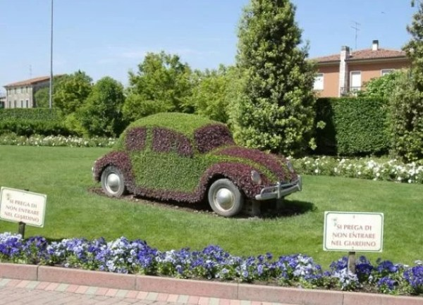 Black Volkswagen Beetle Covered in Grass