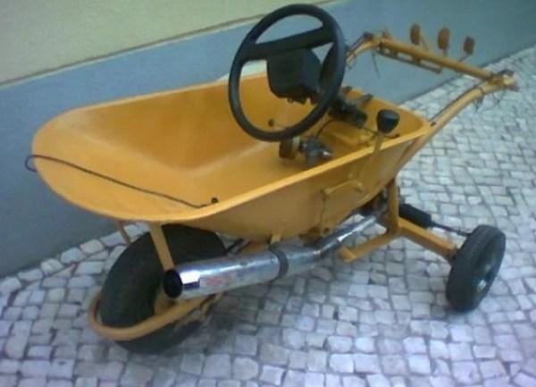 Wheelbarrow turned into a Race Kart